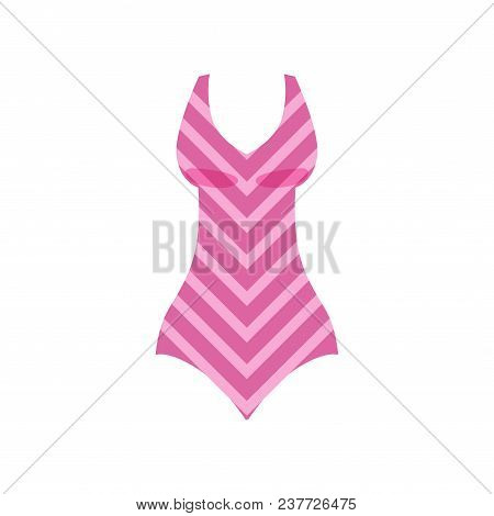 Pink Striped Swimsuit, Womens Fashion Beachwear Vector Illustration Isolated On A White Background.