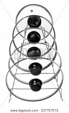 Kitchen Hanger With Glass Lids For Cooking Pots. Hanger Suitable For Hanging On Cupboards, Kitchen R