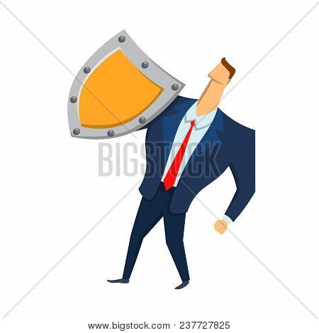 Man In Business Suit With A Shield Looking Up. Security And Protection. Protecting Your Personal Dat