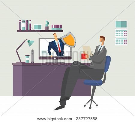 Man In Office Reading Document With Shielded Man Protecting His Computer. Protecting Your Personal D