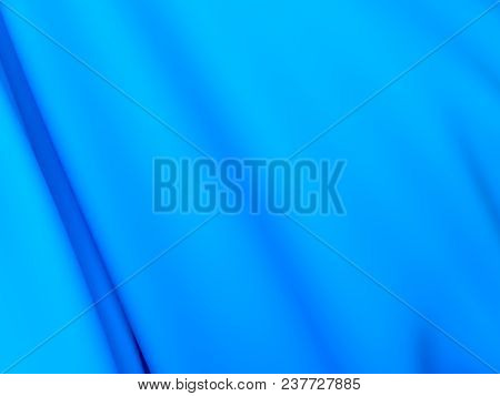 Beautiful Blue Satin Fabric For Drapery Abstract Background. Color Silk Fabric. 3d Rendering.