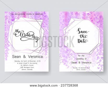 Save The Date Card, Wedding Invitation, Greeting Card With Beautiful Wisteria Flowers And Letters Sa