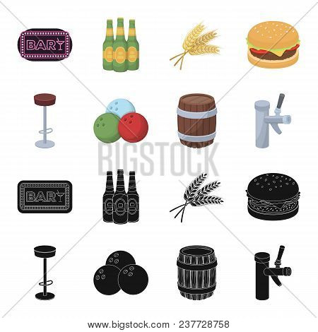 Restaurant, Cafe, Chair, Bowling Ball .pub Set Collection Icons In Black, Cartoon Style Vector Symbo
