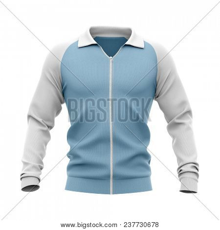 Men's zip neck pullover with raglan sleeves, rubber cuffs and collar. 3d rendering. Clipping paths included: whole object, collar, sleeve, zipper. Front view. poster