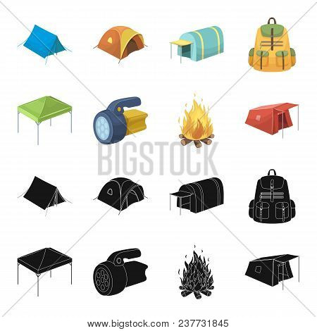 Awning, Fire And Other Tourist Equipment.tent Set Collection Icons In Black, Cartoon Style Vector Sy