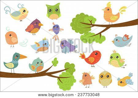 Cute Bird Characters Set, Cute Colorful Cartoon Birds Flying, Singing, Sitting On The Branch Vector