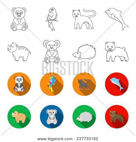 Rhino, Koala, Panther, Hedgehog.animal Set Collection Icons In Outline, Flet Style Vector Symbol Sto