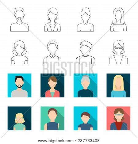Red-haired Boy, Teen Girl, Grandmother Wearing Glasses.avatar Set Collection Icons In Outline, Flet