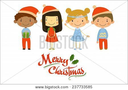 Four Little Children In Holiday Costumes. Merry Christmas And Happy New Year. Cartoon Boys And Girls