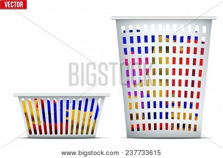 Set Of Laundry Laundry Basket With Dirty Apparel. Ready To Wash With Washing Machine. Vector Illustr