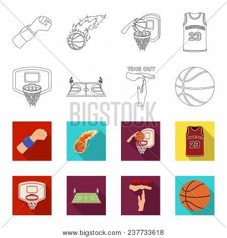 Basketball And Attributes Outline, Flet Icons In Set Collection For Design.basketball Player And Equ