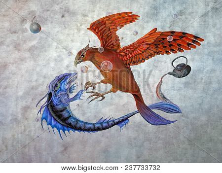 Original Oil On Canvas Painting Depicting The Conflict Between A Phoenix And A Mythological Fish In