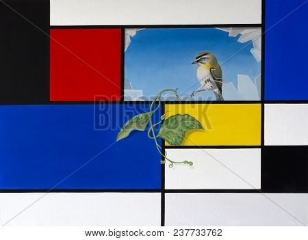 Original Oil On Canvas Painting Depicting A Mondrian Style Background With Broken Pane Revealing Han