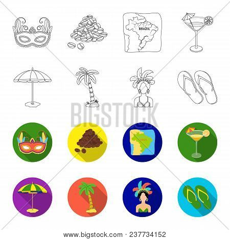 Brazil, Country, Umbrella, Beach . Brazil Country Set Collection Icons In Outline, Flet Style Vector
