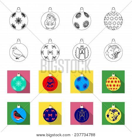 New Year Toys Outline, Flat Icons In Set Collection For Design.christmas Balls For A Treevector Symb