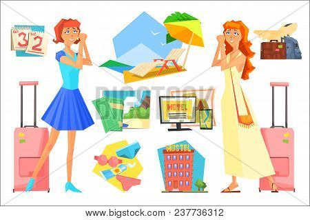 Two Women In Anticipation Of Vacation. Planning Summer Holiday. Calendar, Beach Accessories, Luggage