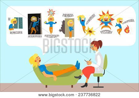 Woman Talking With Psychotherapist About Problems And Phobias Depression, Achluophobia, Nomophobia,