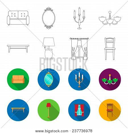 A Coffee Table, A Lamp, Curtains, A Chair.furniture Set Collection Icons In Outline, Flet Style Vect