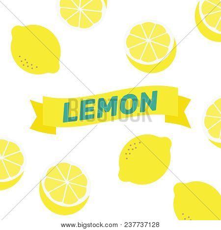 Lemon Pattern Illustration Vector. Lemon Background Abstract. Yellow Cartoon Lemon Pattern