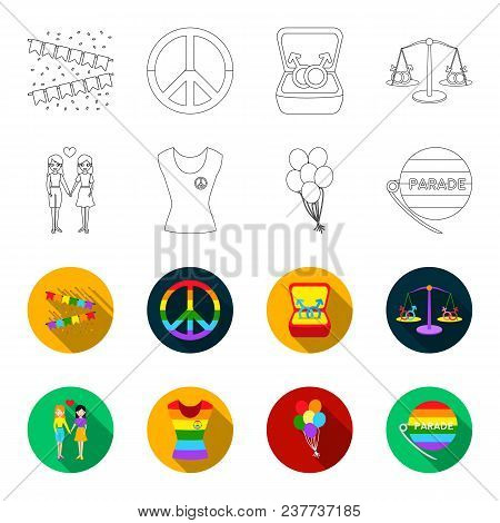 Lesbians, Dress, Balls, Gay Parade. Gay Set Collection Icons In Outline, Flet Style Vector Symbol St