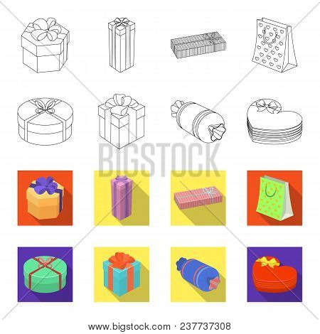 Gift Box With Bow, Gift Bag.gifts And Certificates Set Collection Icons In Outline, Flat Style Vecto