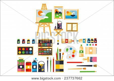 Artist Painting Tools And Artistic Materials For Painting And Creature Set Vector Illustration On A