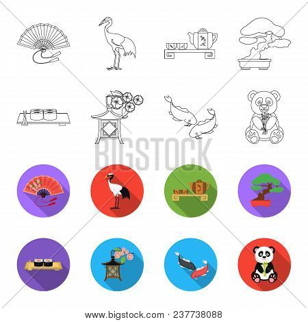 Sushi, Koi Fish, Japanese Lantern, Panda.japan Set Collection Icons In Outline, Flet Style Vector Sy
