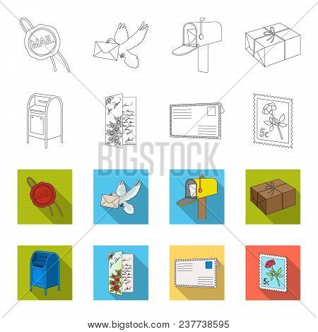 Mailbox, Congratulatory Card, Postage Stamp, Envelope.mail And Postman Set Collection Icons In Outli