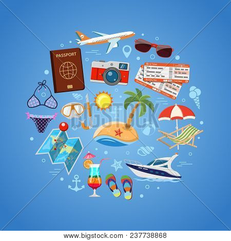 Vacation And Tourism Concept With Flat Icons For Mobile Applications, Web Site, Advertising Like Boa