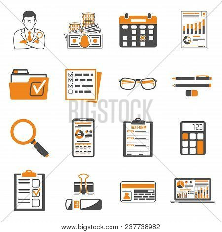 Set Auditing, Tax Process Calculation, Business Accounting Two Color Icons In Flat Style. Calculator
