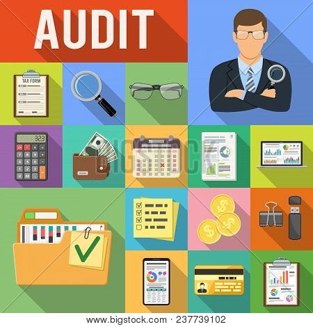 Auditing, Tax, Business Accounting Flat Icons Set On Colored Squares With Long Shadows. Auditor Hold