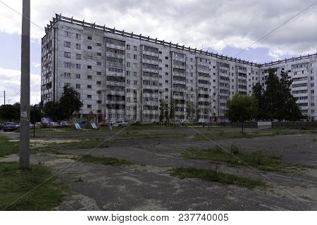 Yoshkar-ola, Russia - June 29, 2017 Playground Near The Apartment Buildings In Residential District.