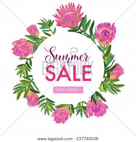 Summer Sale Floral Banner. Seasonal Discount Advertising With Pink Protea Flowers. Tropical Paradise