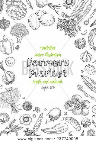 Farmers Market Menu Design Template. Vegetarian Vintage Background With Natural Organic Products. Or