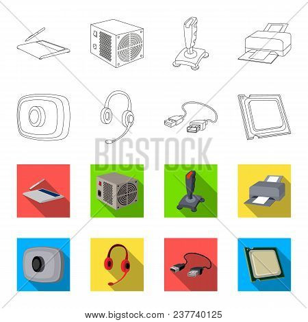 Webcam, Headphones, Usb Cable, Processor. Personal Computer Set Collection Icons In Outline, Flet St