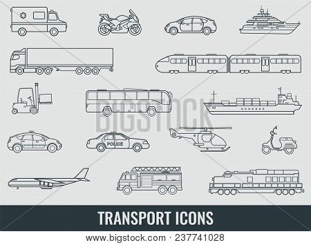 Transportation Icons Set. City Cars And Vehicles Transport. Car, Ship, Airplane, Train, Motorcycle,