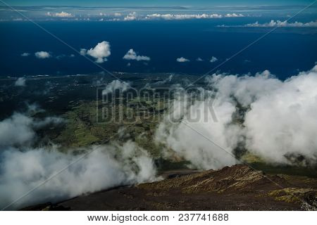 Panorama Landscape From The Top Of Pico Volcano At Hiking At Azores, Portugal