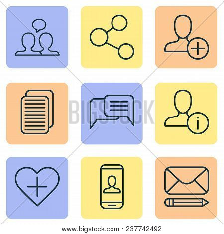 Communication Icons Set With Information, Share, Private Info And Other Internet Site Elements. Isol