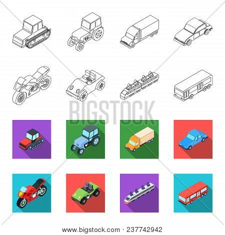 Motorcycle, Golf Cart, Train, Bus. Transport Set Collection Icons In Outline, Flet Style Vector Symb