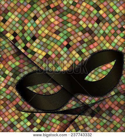 Abstract Colored Background Image Consisting Of Lines And Cubes With Carnival Black Half Mask And Ve
