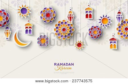 Ramadan Kareem Concept Horizontal Banner With Islamic Geometric Patterns. Paper Cut Flowers, Traditi