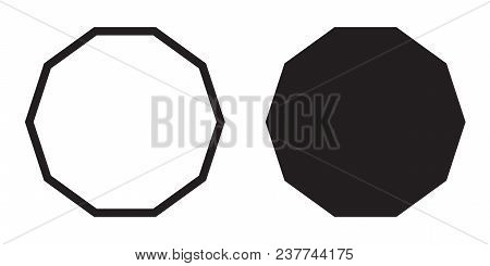 Decagon Icon Of Vector Geometry Decagonal Ten Sided Polygon Decagon Line