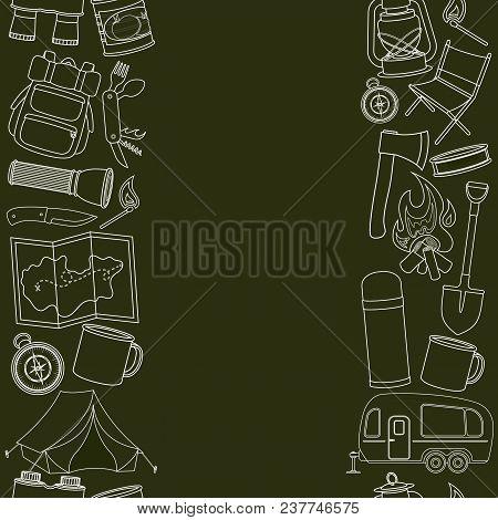 Seamless Borders Of Travel Equipment. Accessories For Camping And Camps. Line Icons Of Camping And T