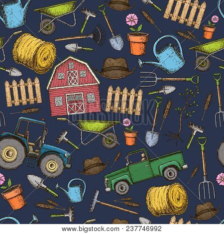 Seamless Pattern Of Farming Equipment Icons. Farming Tools And Agricultural Machines Decoration, Ske