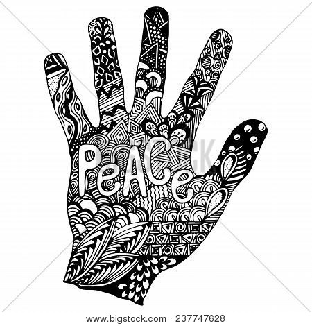 Detailed Hand Drawn Doodle Logo. Hand In Doodle Style With Inscription Peace On It. Floral Pattern I