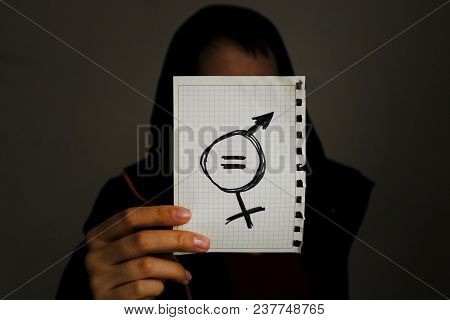 Equals Sign And A Male Symbol Drawn On A Piece Of Paper Depicting The Women Sexual Equality. Gender
