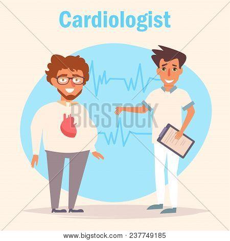 Cardiologist. Medicine Vector. Cartoon. Isolated Art On White Background Flat