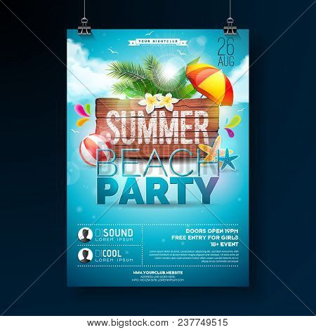 Vector Summer Beach Party Flyer Design With Typographic Elements On Wood Texture Background. Summer