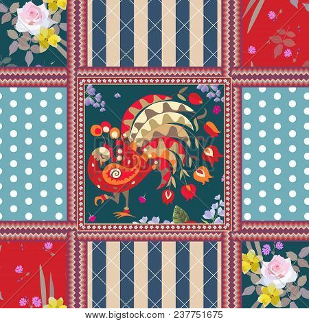 Beautiful Seamless Pattern With Peacock, Zigzag Frames, Polka Dot And Striped Background. Lovely Pil