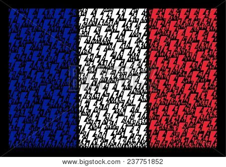 France National Flag Concept Combined Of Electric Strike Pictograms. Vector Electric Strike Pictogra
